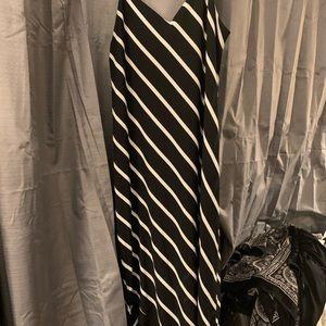 horizontal stripe asymetrical maxi dress